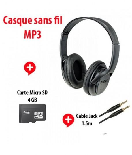 Casque Mp3 Carte Mémoire 4gb Cable Jack