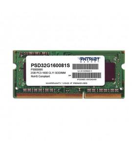 Barrette Mémoire PATRIOT 2Go DDR3 1600 MHz Pour Pc Portable