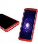 Samsung S8 Plus - Etui en Silicone 360° Avant Rouge Arrière Transparent