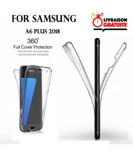 Samsung A6 PLUS - Etui Transparent 360° Avant et Arrière