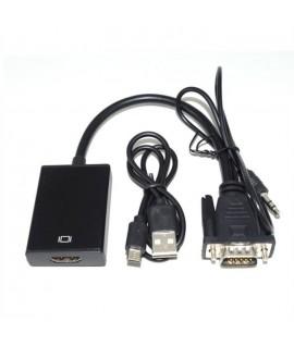 Convertisseur VGA Mâle Vers HDMI Femelle avec Audio