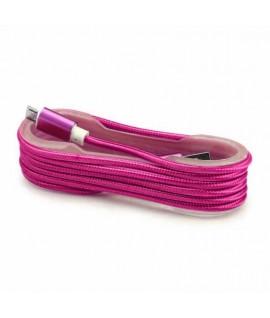 Cable Tissu en nylon Tressé USB vers Lightning - Rose