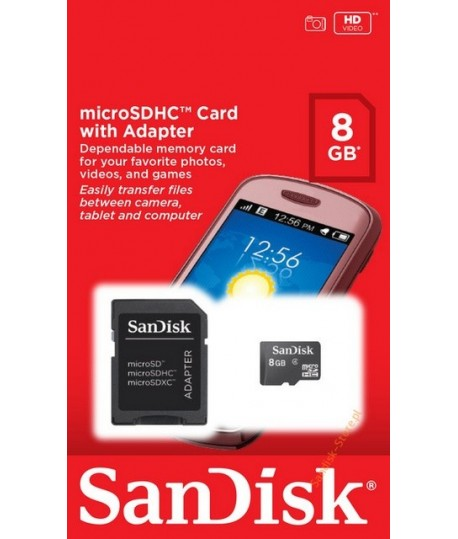 Carte mémoire micro SDHC 8 Go SANDISK + Adaptateur