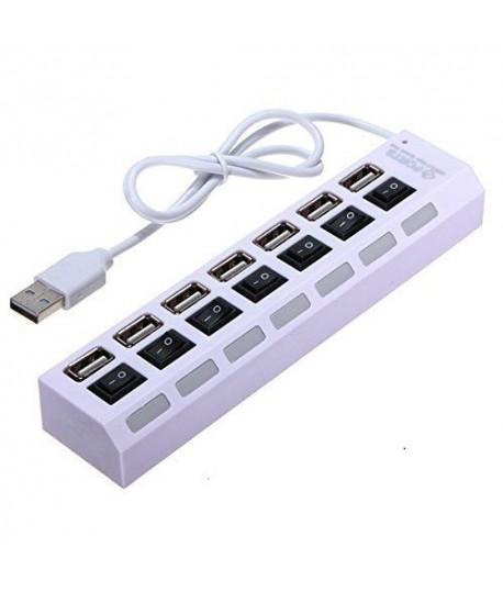 Hub USB 7 Ports USB 2.0 avec Interrupteur